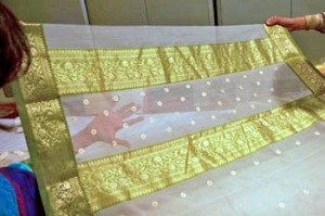 Gold-White Chanderi Sari